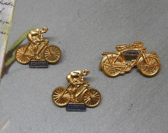 3 Schwinn Bicycle Gold Tone 1960's Dealer Promotion Pins
