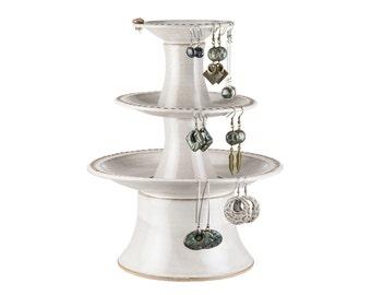 3 Tier pedestal ceramic earring holder in Limestone glaze. Three tier earring tower / earring holder | earring storage | earring organizer /