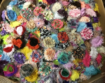 Wholesale Bulk Grab bags of Shabby rosette flower heads (no clips included) Pack counts of 1, 5, 10, 15, 30, 50, 100, 300, 500, 1000