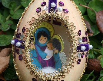 ON SALE Vintage Duck Egg Shell Christmas Diorama with Jewels Jeweled Scene Fabergé Style - Velvet Royal Purple and Pearls