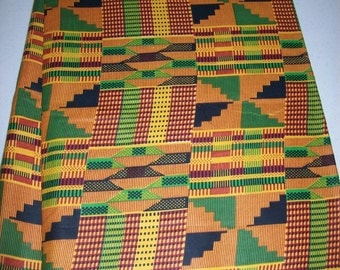 Traditional Kente Print in Orange, green and black per yard, Kente #2/ African head wraps, Scarves/ African Clothing/ African Stoles