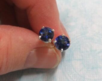 Topaz Earrings - Blue Passion Topaz Post Earrings - 6mm Blue Topaz & Sterling Silver Post Earrings
