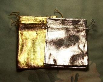 3 Silver or 3 Gold Gift Bags  3.5 x 4.5 inches  Mix or Match