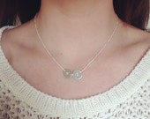 Silver monogram necklace, mothers necklace, coin necklace, initial necklace, personalized, bridesmaid gift, disc necklace