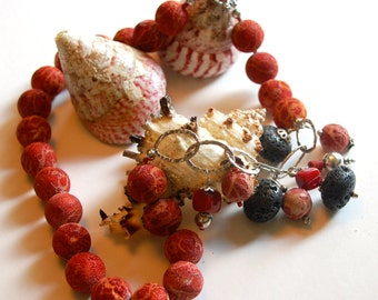 Coral and Lava Necklace - Artisan Made - OOAK - 23""