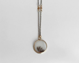 agate pendant necklace agate slice necklace dendritic agate jewelry fine jewelry agate cabochon round stone silver and gold jewelry
