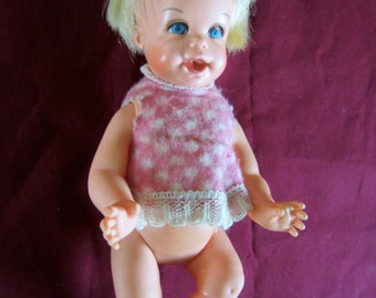 Mattel 7 in. Cheerful Tearful doll with shirt 1965 face changes when tummy pushed