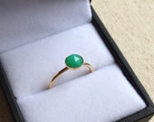 6mm Green Chrysoprase round rose faceted ring in Gold Filled setting size 5.5