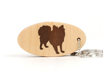 Papillon Dog Key Chain Wood Dog Breed Key Ring Wooden Pet Key Fob Papillon Key Ring Dog Key Chain Walnut