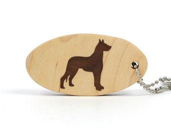 Great Dane Key Chain Wood Dog Key Chain Dog Breed Key Fob Wood Pet Key Chain Great Dane Key Ring Walnut