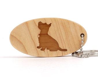 West Highland White Terrier Westie Key Chain Wood Scroll Saw Dog Breed Key Ring Pet Key Fob Wooden Dog Key Chain Cherry