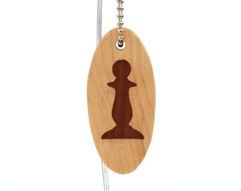 Chess Pawn Key Chain, Wood Chess Game Piece Key Fob, Chess Keychain, Chess Accessories, Wooden Hand Cut Scroll Saw Keyring