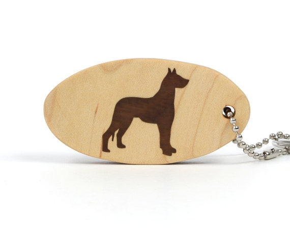 Great Dane Key Chain Wood Dog Key Chain Dog Breed Key Fob Wood Pet Key Chain Great Dane Key Ring Walnut