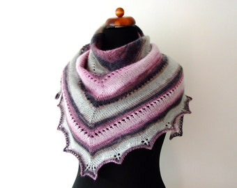 winter scarf, handknitted triangle shawl, grey pink brown, warm and cozy