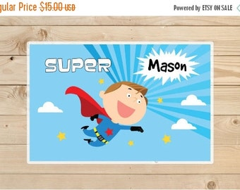 ON SALE super hero placemat Placemat - Kids Personalized super hero Placemat - Superhero Laminated Placemat for Kids