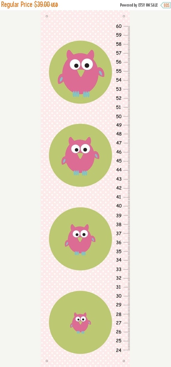 HOLIDAY SALE Personalized pink owls Growth Chart for girls