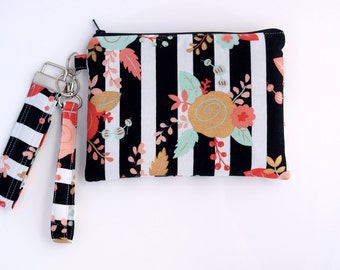 Cell Phone Wristlet with Inside Pockets, Floral Wristlet Wallet,  Key Fob, Gift Set for Her, Handmade, Ready to Ship
