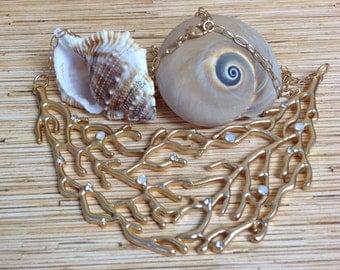 Gold Tone Branch Coral Bib Necklace