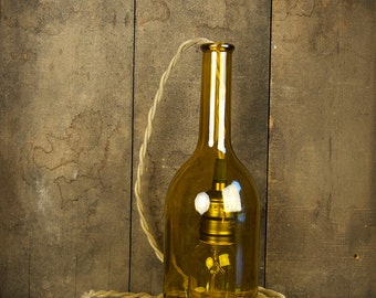upcycled wine bottle pendant light