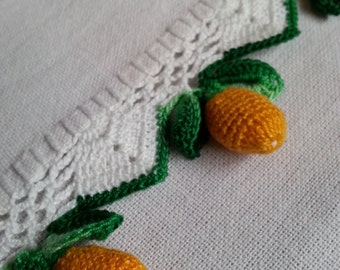 Vintage kitchen towel with handmade fruit tassels