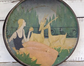 Vintage Antique 1920's Art Nouveau Loose Wiles Sunshine Biscuit Tin with Lady and Antelope Graphic