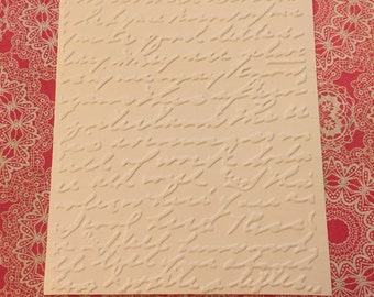 6 Script Embossed Cardstock - Choose your Color
