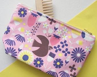 Pink Cometic Bag, Large Pencil Case, Cotton Wash Bag, Make Up Bag, Travel Bag, Pencil Case, Zipped Pouch