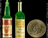 Green Resin Wine Bottle Pendants or Charms, Set of Two  OD-04