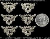 Six Silver Vintage Filigree Three Way Connectors  S-3C17
