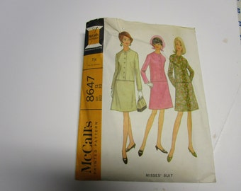 McCalls 8647,  1967 Misses' suit .  2 Patterns - Size 16 and 12, both used