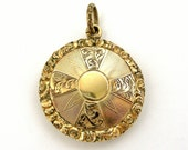 Antique Georgian gilt pinchbeck mourning fob locket with hair.