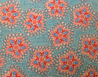 One yard Vintage floral cotton print late 40's 50's