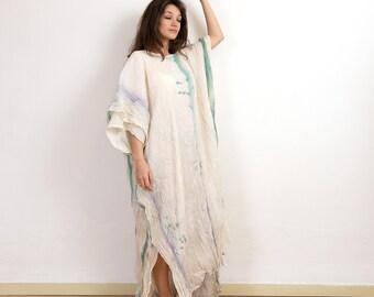 Cotton caftan, maxi loose dress, oversize dress, unique abaya, caftan dress,tie dye summer gown, unique piece.