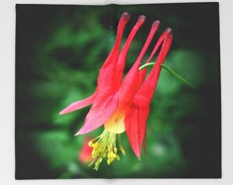 Wild Columbine flower throw blanket, mother's day gift floral decor, home decor, living room, bedroom, lap robe photograph, red, green