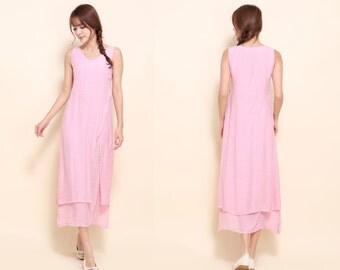 Asian Style Two Layered Silk  Sleeveless Long Dress / 25 Colors/ RAMIES