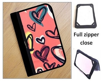 personalized HARD case - ipad case/ kindle case/ nook case/ samsung case/ others - full zipper close - hearts
