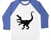 RAPTOR - Long Sleeve Baseball - Triblend Dinosaur / Monster T-Shirt / Tee - Mens / Womens T-shirt / Tee - iOTA iLLUSTRATiON