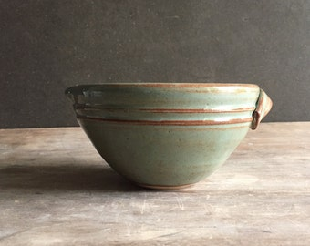 2 Cup Batter Bowl,  Pottery Keramik Baking Kitchen Dining Serving Mixing Bowl with Pour Spout in Woodland Green *Ready to Ship*