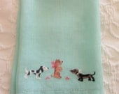 Dogs Linen Hand Towel, Aqua, Embroidery and Hem Stitching, Mid Century, Retro