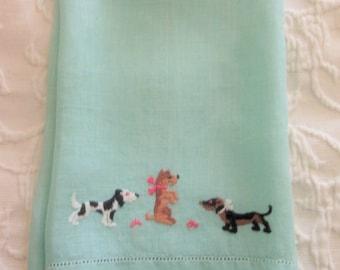 Dogs Linen Hand Towel, Aqua, Embroidery and Hem Stitching, Mid Century, Retro