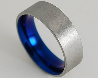 Wedding Band , Titanium Ring , Apollo Band in Nightfall Blue with Comfort Fit