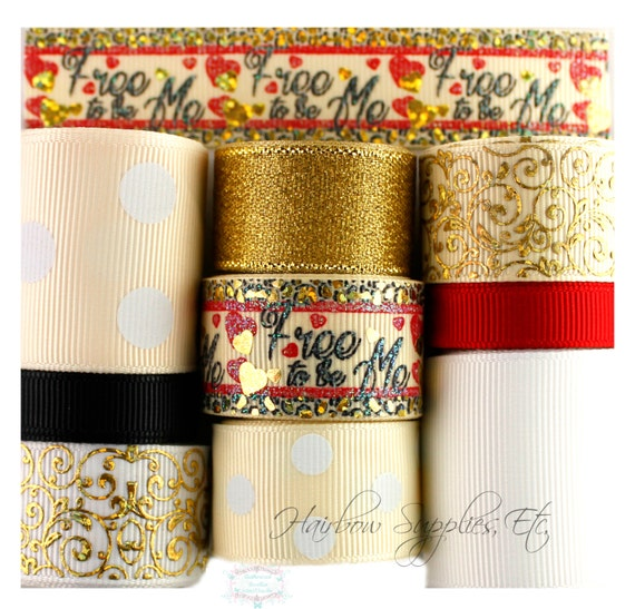 Free to Be Me - 9 yard Grosgrain Ribbon Lot - Leopard Ribbon, Hearts Ribbon, Gold Ribbon, Gold Swirls, Leopard Bow - Hairbow Supplies, Etc.