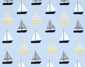 Dear Stella Rock Lobster Sailboats Marina navy blue light blue yellow white nautical seaworthy Jack and Lulu - cotton quilting fabric - BTY