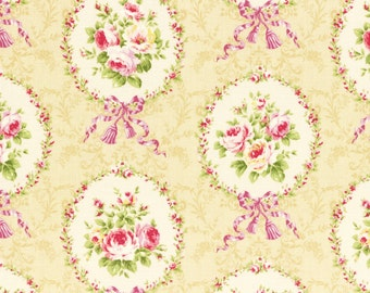 Lecien - Rococo Sweet Rose Cameos on Ivory Sweet 2014 Floral Collection 31054-10 - cotton quilting fabric - BTY