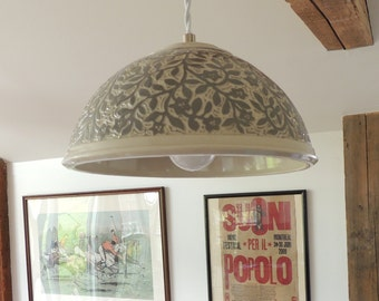 Porcelain Hanging Lamp in Grey and White, Hand Carved with Flower Vines