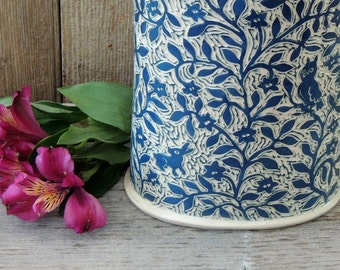 Vase/Utensil Holder, Handmade and Hand Carved with Teal and White Birds and Flowers
