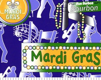 Mardi Gras Signs Cotton by Fabric Finders