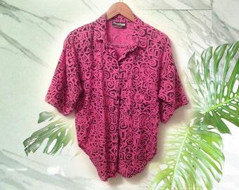 80s Hot Pink Geometric Cotton Unisex Summer Shirt size Large