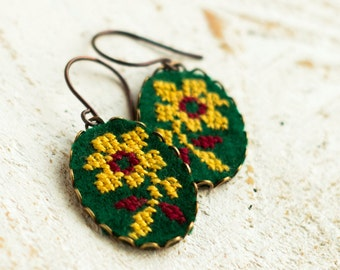 Flower earrings, dangle earrings with floral embroidery e026