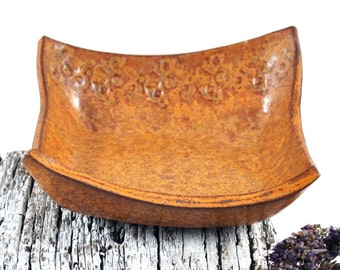 Ceramic Bowl Square Handmade Pottery Orange Brown Condiment Dish Candle Holder